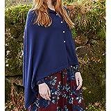 Swallowuk Damen Poncho Cape Casual Umhang Asymmetrisch Loose Pullover Mantel Tops (XL, Blau)