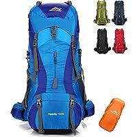 Onyorhan 70L+5L Mochila Viaje Trekking Excursionismo Senderismo Alpinismo Escalada Camping Hombre Mujer (Azul)