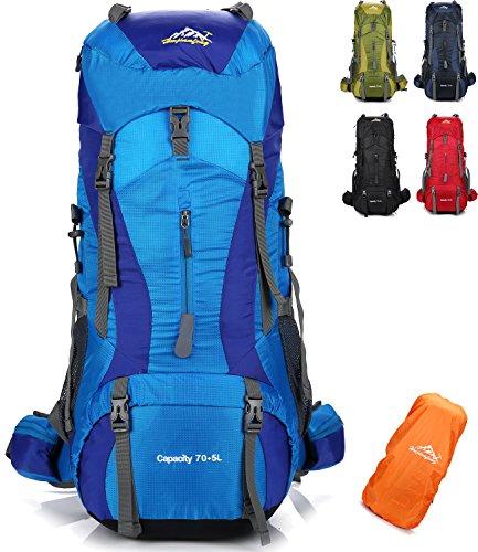Onyorhan 70l+5l zaino viaggio trekking escursionismo campeggio arrampicata alpinismo impermeabile per uomodonna (blu)