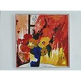 Acryl Bild auf Leinwand (Keilrahmen) Blumenkomposition - 64 x 64 cm