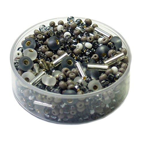 Rocailles • Glasperlen Mischungen 17 Gramm - 3-6mm - 20 Farben zur Auswahl (grau) -