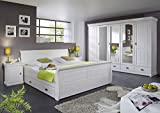 Komplettes Schlafzimmer zum Wohlfühlen Mailand-Weiß Kiefer weiß