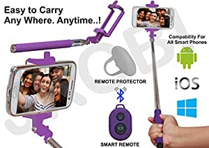 Selfie Stick Monopod with Bluetooth Remote Wireless Shutter Connectivity Compatible For Samsung Galaxy Grand Duos i9082 -Purple