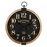 L'Héritier Du Temps Horloge Géante Murale Pendule Ronde Vitrée Style Industriel ou Vintage en Bois Vieilli et Fer Patiné Marron 7,5x73,5x90cm