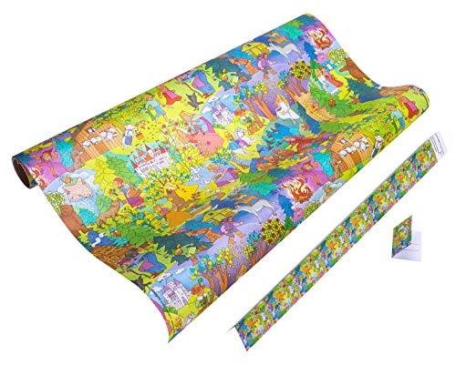 MÄRCHEN Geschenkpapier Kinder - GRIMMS MÄRCHEN Geschenkpapier - 5 Meter Geschenkpapier Rolle + 9x Geschenkanhänger für Mädchen & Jungen zum Geburtstag, Weihnachten, Ostern - reißfestes Geschenkpapier