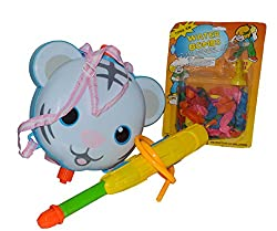 Toyzstation Cat Water Tank Pichkari With Free Balloons Assorted (Multicolor) For Holi Festival