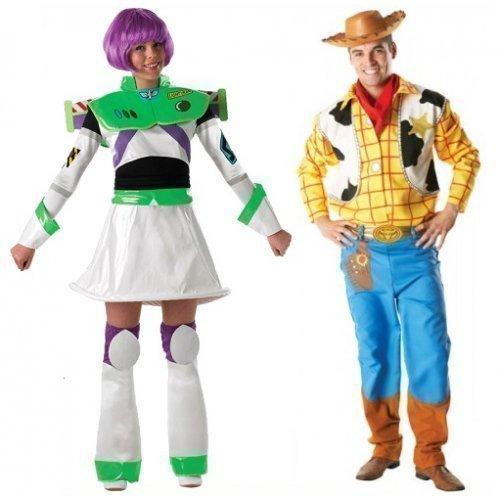 Woody Kostüm Story Toy (Herren Damen Paar Disney Woody & Buzz Lightyear Toy Story Büchertag Passend Halloween Kostüm Verkleidung Outfit - Multi, Multi, Ladies 16-18 & Mens)