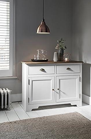 Armoire 2tiroirs pin foncé et blanc Canterbury Armoire Buffet Noa & Nani