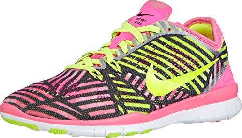 Nike Damen Free Trainer 5 Print Hallenschuhe, Pink pow/Volt-Black 600), 39 EU