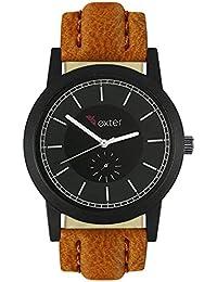 Xurious Enterprise Round Dial Analogue Black Dial Brown Leather Strape Fashion Wrist Watch For Men & Boys | XE-FX...