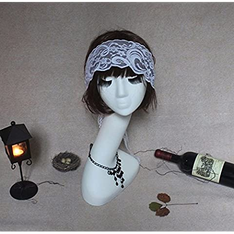 Studio fotografiado props hilados con los ojos vendados, velo de novia blanco gafas y máscara de LACE LACE personalizada cabello Cabello banda ornamentos, blanco