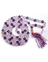Combination Mala of Amethyst + Rose Quartz + Clear Quartz Also Know as Study Mala by Reiki Crystal Products
