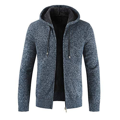 Xmiral Herren Stricken Jacke Mantel Lässige Zipper Kordelzug Hoodie Outwear Pullover (3XL,Blau) - Hybrid Duffle