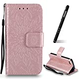 Schutzhülle für iPhone SE Rosegold,Slynmax Mandala Blume Hülle Wallet Case Handyhülle für Apple iPhone 5/5s/SE Tasche Klapphü