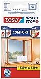 tesa Insect Stop COMFORT Fliegengitter für Fenster - Insektenschutz mit Klettband selbstklebend - Fliegen Netz ohne Bohren - Weiß, 130 cm x 130 cm
