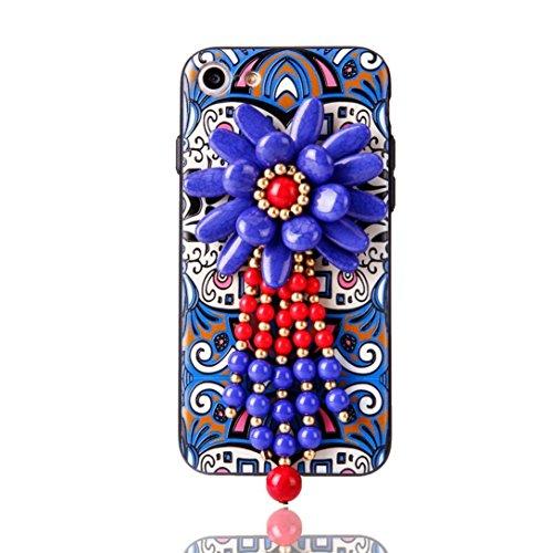 Cover per iPhone 7, Tpulling Custodia per iPhone 7 Case Cover Copertura esotica della borsa del telefono delle perle di boutique per il iPhone 7 4.7 pollici (B) E