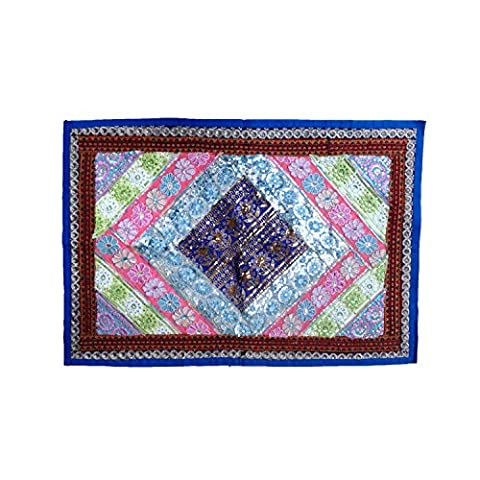 Contemporary Reclaimed Embroidery Sequins Patches Mix Cotton Wall Tapestry