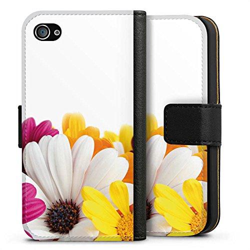 Apple iPhone X Silikon Hülle Case Schutzhülle Blumen Margerite Blüten Sideflip Tasche schwarz