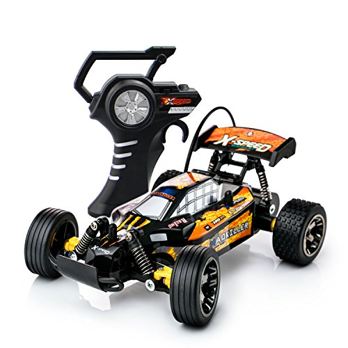 PTL� Fast RC Remote Control Toy Car Buggy Truggy - 15kph Radio Controlled High Speed Motor with Racing Tyres for On Off Road Play Indoors or Outdoors 27Mhz (Colour Varies)