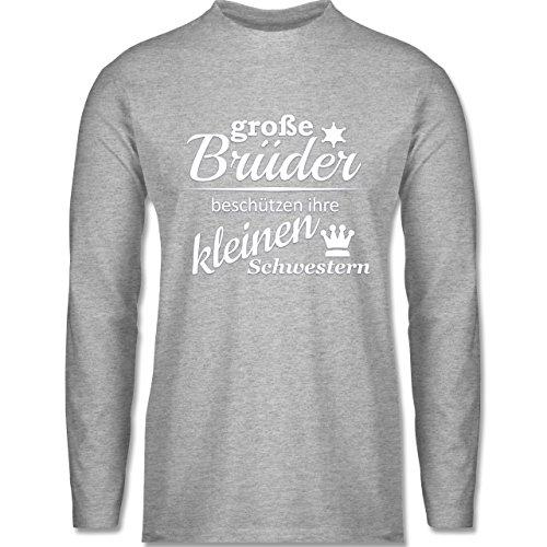 Shirtracer Sprüche - Große Brüder - Herren Langarmshirt Grau Meliert