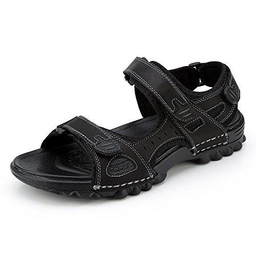 Hafiot sandali uomo estivi pelle, sportivi antinfortunistica mare escursionismo spiaggia antiscivolo morbido piscina scarpe aperti nero marroni 38-48 bk43