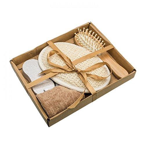 Wellnessset Badeset Sauna Set Massageset 4-teilig Geschenkset aus Massageschwamm, Massagebürste, Bimsstein für die Pediküre und Haarband (Kissen Für Die Sauna)