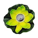 FLAMEER Floating Solar LED Lampe Pool Seerose Beleuchtung Teich, schön und einfach zu bedienen - Grüne Blumenblätter