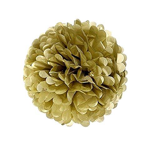 B-Shine Pompoms Pompons Papier Blumen Dekorpapier für Geburtstag Hochzeitsfest Babyshower Dekoration Party Wohnungdeko (Gold)