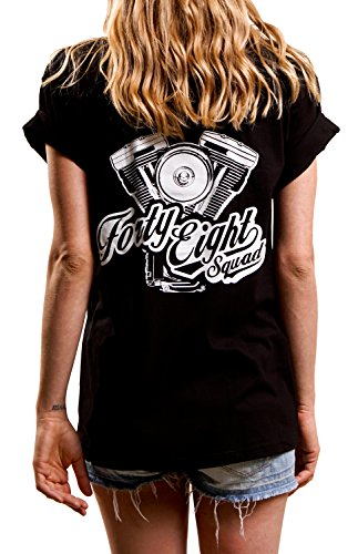Cooles Motorrad Shirt Damen locker geschnitten Oversize V2 Harley Motor schwarz Größe XL (Großes Harley-davidson T-shirt)