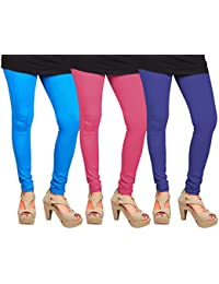 CAY 100% Cotton Combo of Blue, SkyBlue and Baby Pink Color Plain, Stylish & Most Comfortable Leggings For Girls & Women with Full Length (SIZE : Free Size)