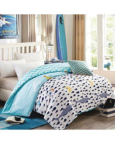 umwolle Bettbezüge Sommer dünne weiche Kinderbett Kinder Kinder Teen Mädchen Jungen Studenten College Wohnheim Bettwäsche Cover (Fisch, 160 cm x 210 cm) (Fbi Kostüme Für Jungen)