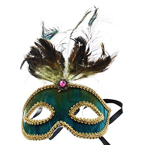 Safari Eye Venetian Mardi Gras Mask w/ Peacock Feathers: Teal (Teal Feather)