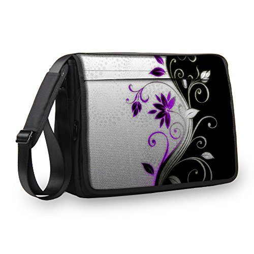 MySleeveDesign Messenger Bag Laptoptasche Notebooktasche mit Tragegurt - Tasche für Laptop & Notebook der Größen 13,3 Zoll / 14 Zoll / 15,6 Zoll / 17,3 Zoll - VERSCH. Designs - Purple Flower - 17