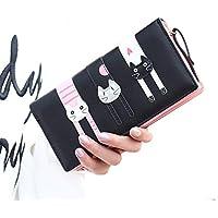 Cute Cat borsa del portafoglio Bifold da donna Coface con la chiusura (Grande Portafoglio)
