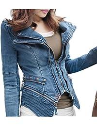 Women Sharp Power Studded Shoulder Notched Lapel Denim Jeans Coat Blazer Jacket
