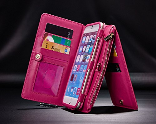 Cover per iPhone 7 Card Slots,Custodia per iPhone 8 (4.7 Pollice),Bonice Premium Multifunzionale Pelle Portafoglio Staccabile Detachable Removable Folio Zipper Protettivo Case Multiplo Extra Slot per  Non-Crossbody Strap-Cover-04