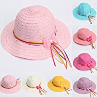 Moppi Lovely Girls Summer Casual Hollow Cap Beach Sun Straw Hat 6 Candy Color Bow Kids Accessories