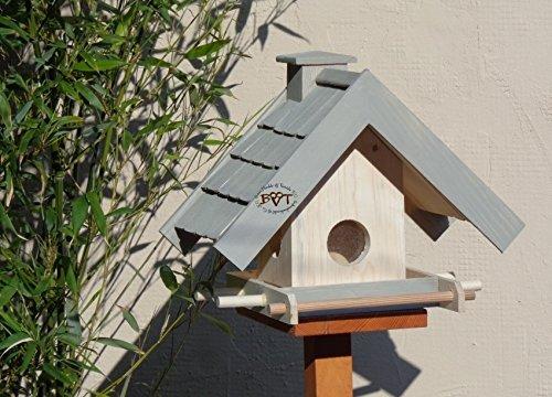 """vogelhaus,mit Futterspender,K-BEL-VOWA3-grau001 Schönes Vogelhäuschen PREMIUM-Qualität,Vogelhaus,""""MEGASILO"""" FUTTERAUTOMAT + SICHTGLAS für Vorrat PREMIUM-Qualität,Vogelhaus,- ideal zur WANDBESTIGUNG – Futterhaus, Futterhäuschen, wetterfestes VogelfutterHAUS mit futterstation Farbe grau hellgrau lichtgrau taupe / natur NEU, Ausführung Naturholz MIT TIEFEM WETTERSCHUTZ-DACH für trockenes Futter, 100% Massivholz, QUALITÄTSPRODUKT vom Schreiner"""