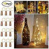 20 LEDs 2M LED Flaschenlicht Warmweiß,LED lichterkette batterie für Flasche DIY Deko Weihnachten,Kupferdraht Stimmungslichter