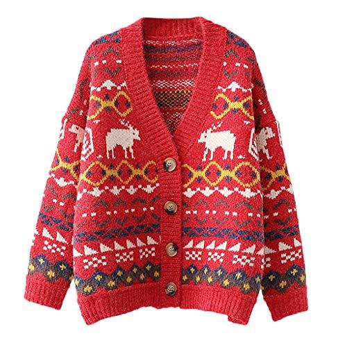 Geilisungren Strickjacke Damen Weihnachten Rentier Schneeflocke Muster Knöpfe Strickmantel Langarm V-Ausschnitt Sweater Lose Open Front Cardigan Karneval Festlich Kostüm -