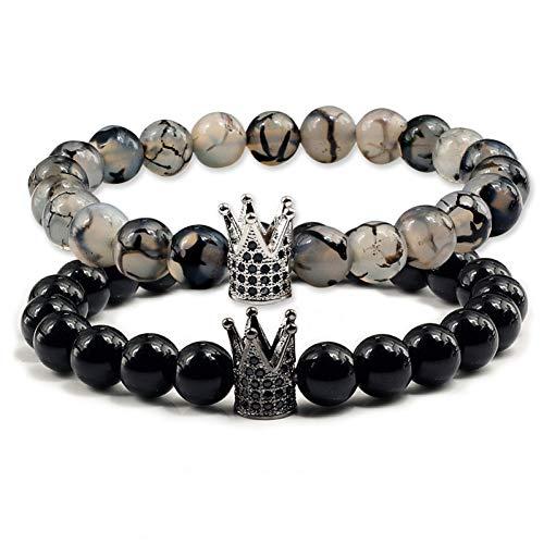 le/Satz naturstein Paar Abstand Armband männer Micro Pave cz Crown Charme schwarz Lava Tiger Eye perlen armbänder Frauen schmuck ()