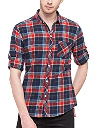Nick&Jess Mens Beige Red & Blue Check Slim Fit Casual Flannel Shirt