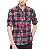 Nick & Jess Mens Beige Red & Blue Check Slim Fit Casual Flannel Shirt