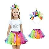 Homelix My Little Pony Mädchen Prinzessin Party Rainbow Einhorn Blume Stirnband Tutu Rock Kostüm Kit (Mehrfarbig)