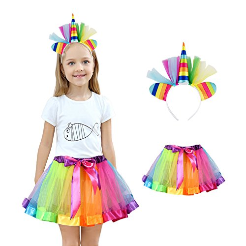 Homelix My Little Pony Mädchen Prinzessin Party Rainbow Einhorn Blume Stirnband Tutu Rock Kostüm Kit ()