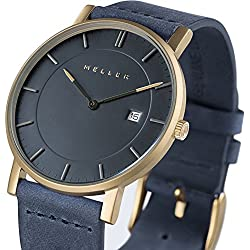 Meller Unisex Balk Marine Minimalist Watch with Grey Analogue Display and Leather Strap
