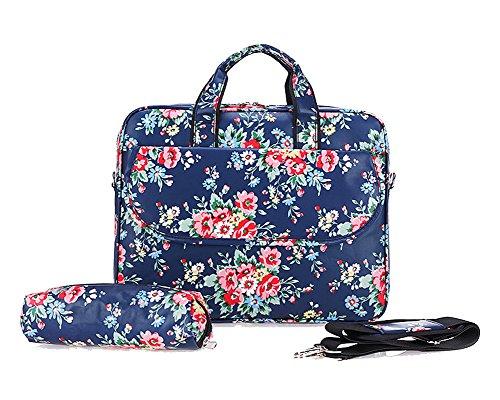 Laptoptasche Tasche für Laptop / Notebook Notebooktasche Blau Blume 15 Inch - Compaq Stift