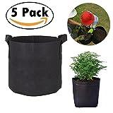 Gabbrein 5 unidades de sacos no tejidos para plantines para hacer crecer plantas, macetas de tela con correas, macetas con mango 11 x 26 litros y 7 x 3 litros