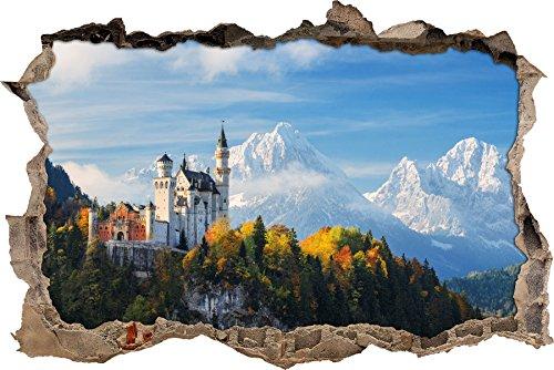 Schloss Neuschwanstein im Herbst Wanddurchbruch im 3D-Look, Wand- oder Türaufkleber Format: 62x42cm, Wandsticker, Wandtattoo, Wanddekoration