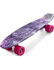 Gearbest 22 pouces Planche à roulettes Transparent Skateboard PU LED Rétro Mini